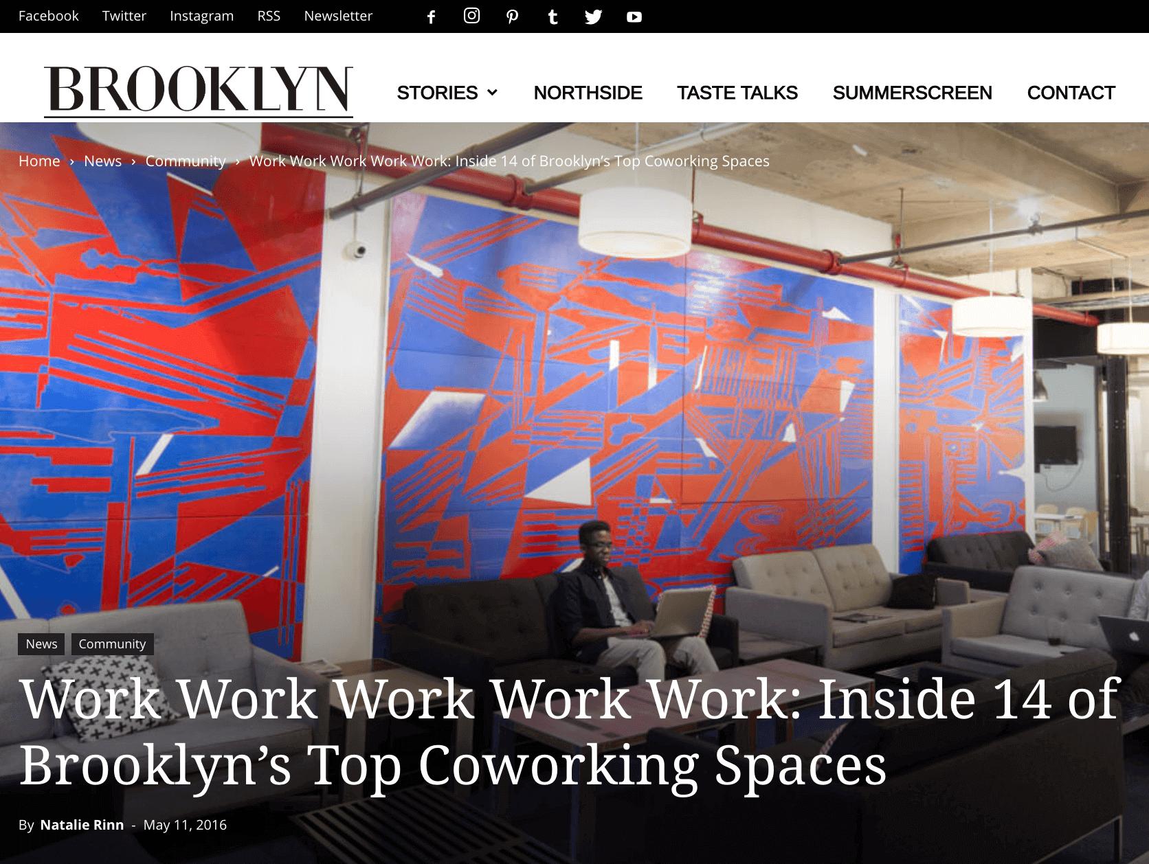 Coworking space Brooklyn – Website
