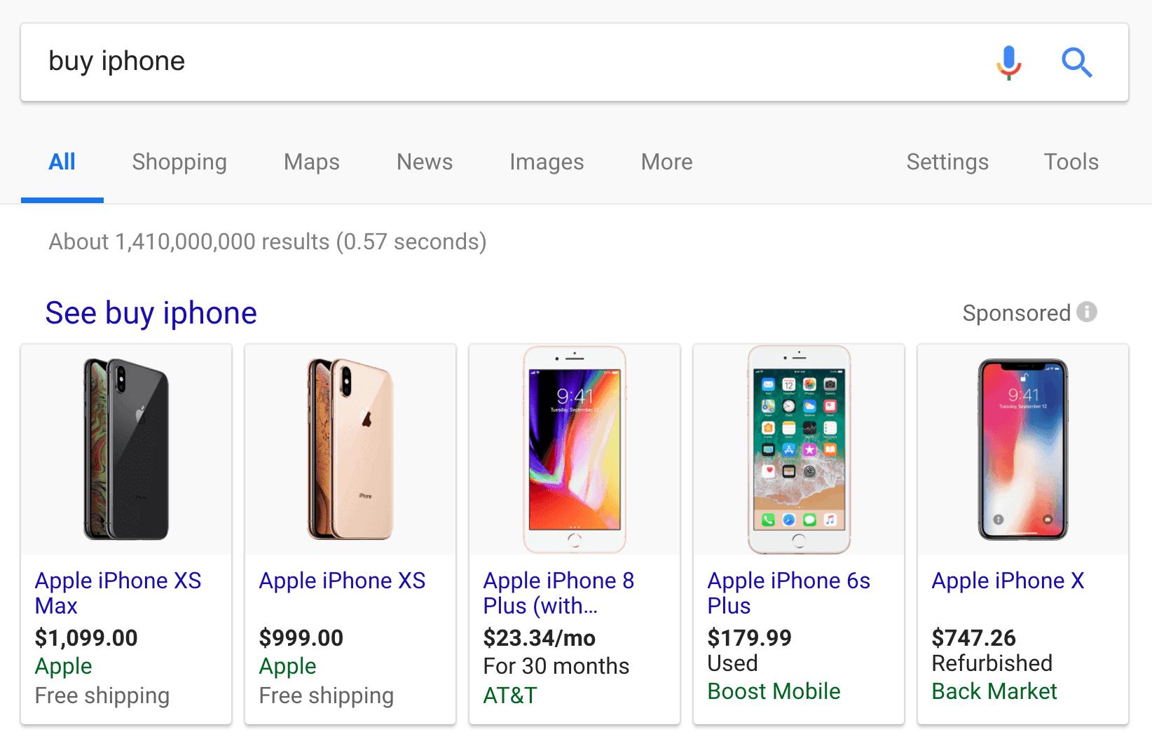 Google SERP – объявления для iPhone