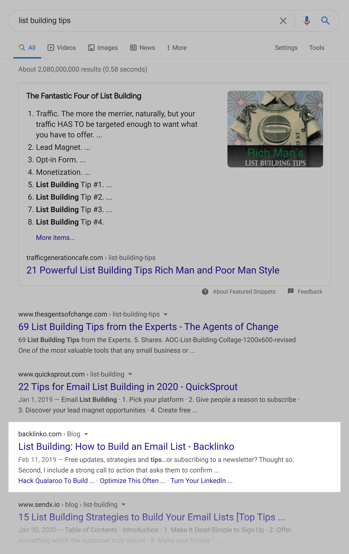 Google SERP – List building tips
