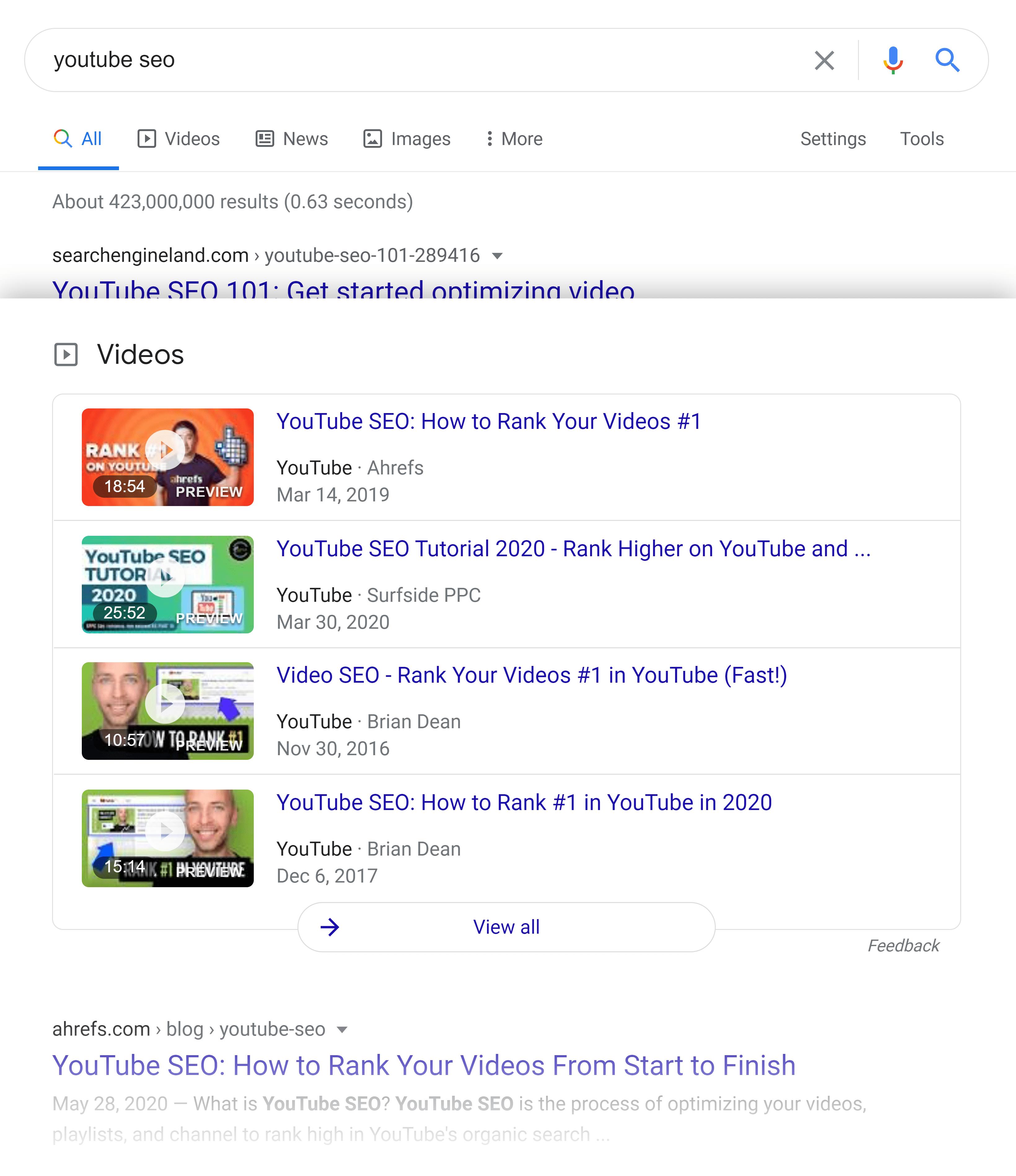 Google SERP – Результаты видео
