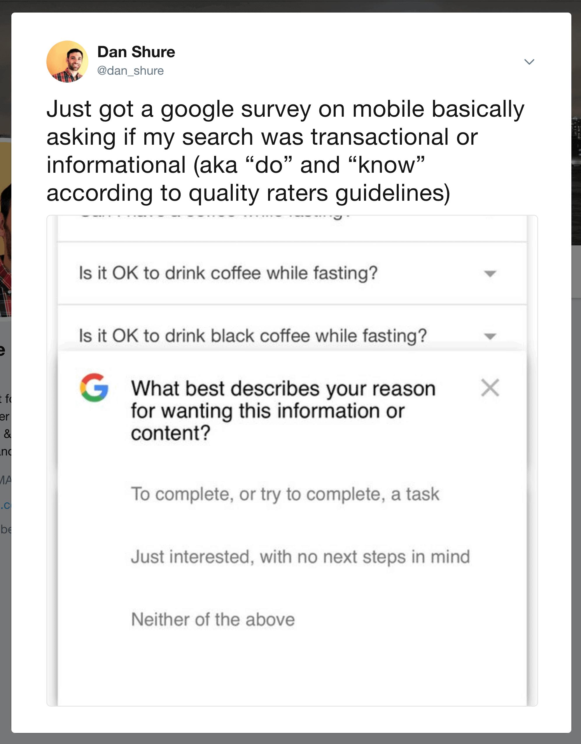 Google user intent survey