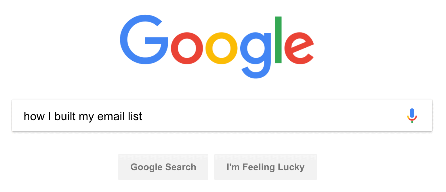 """""""how I built my email list"""" Google search"""