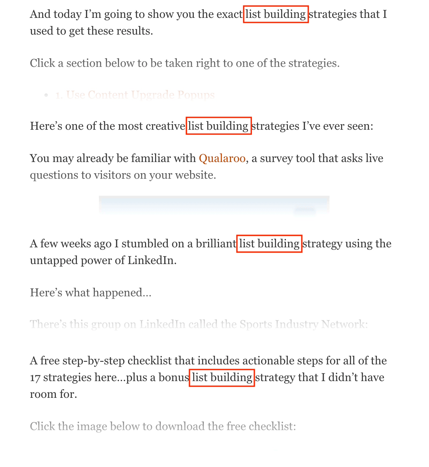 Keyword mentioned throughout post
