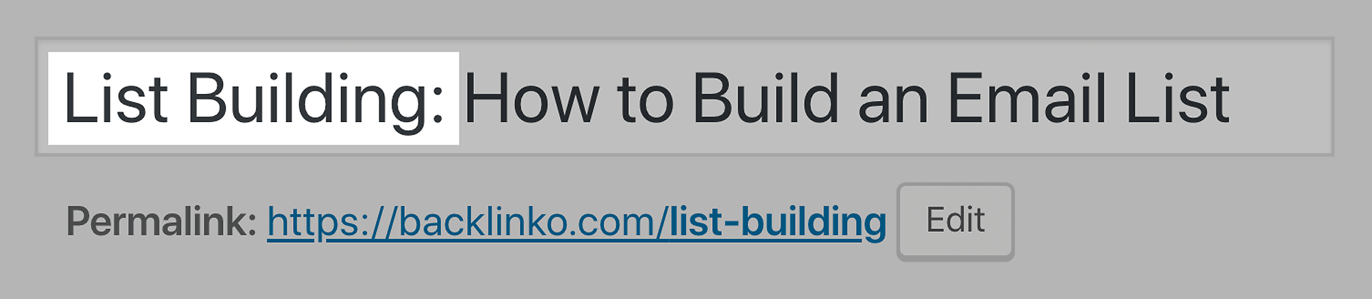 List Building – Target keyword