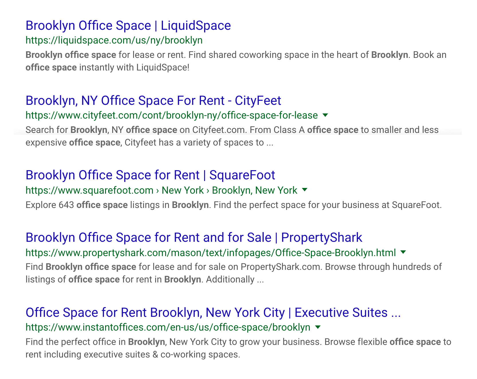 """""""office space brooklyn"""" search, bottom"""