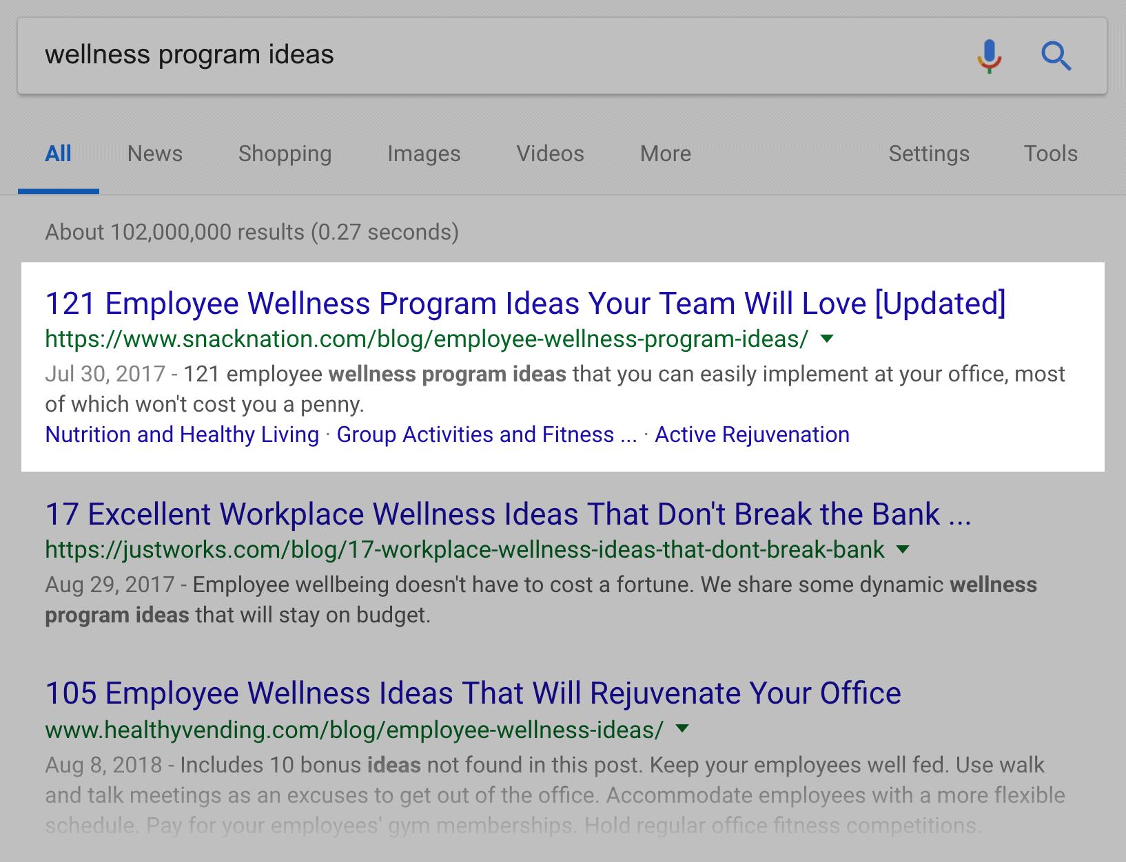 Старый Google SERP – Идеи оздоровительной программы