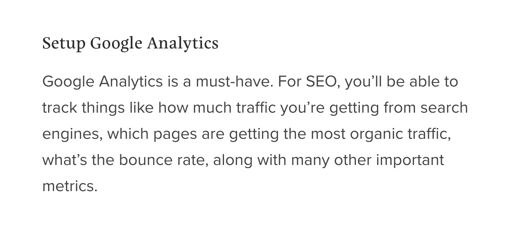 Other SEO Checklist content had steps