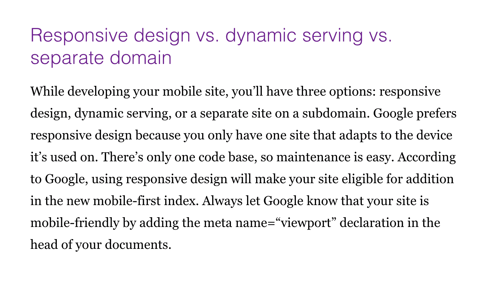 Other site – Responsive design section