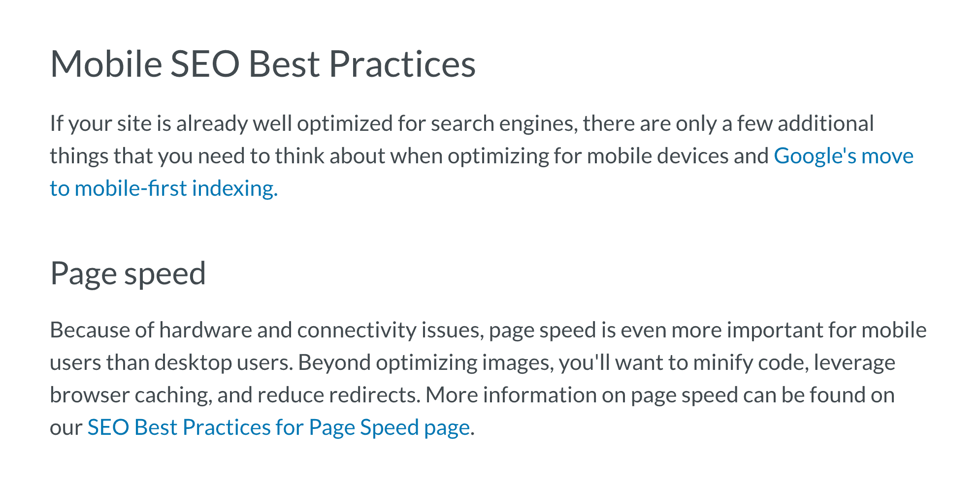 Other site – Site speed section