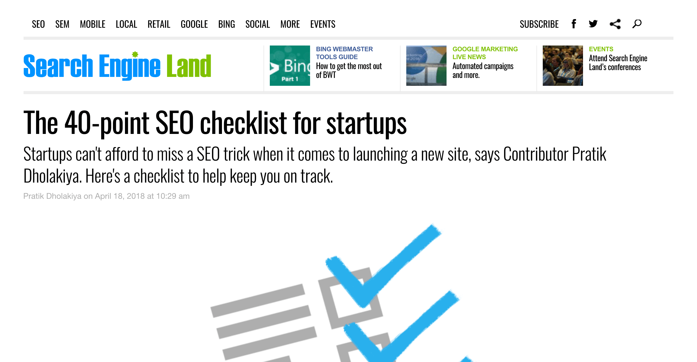 People want SEO checklists that cover a lot