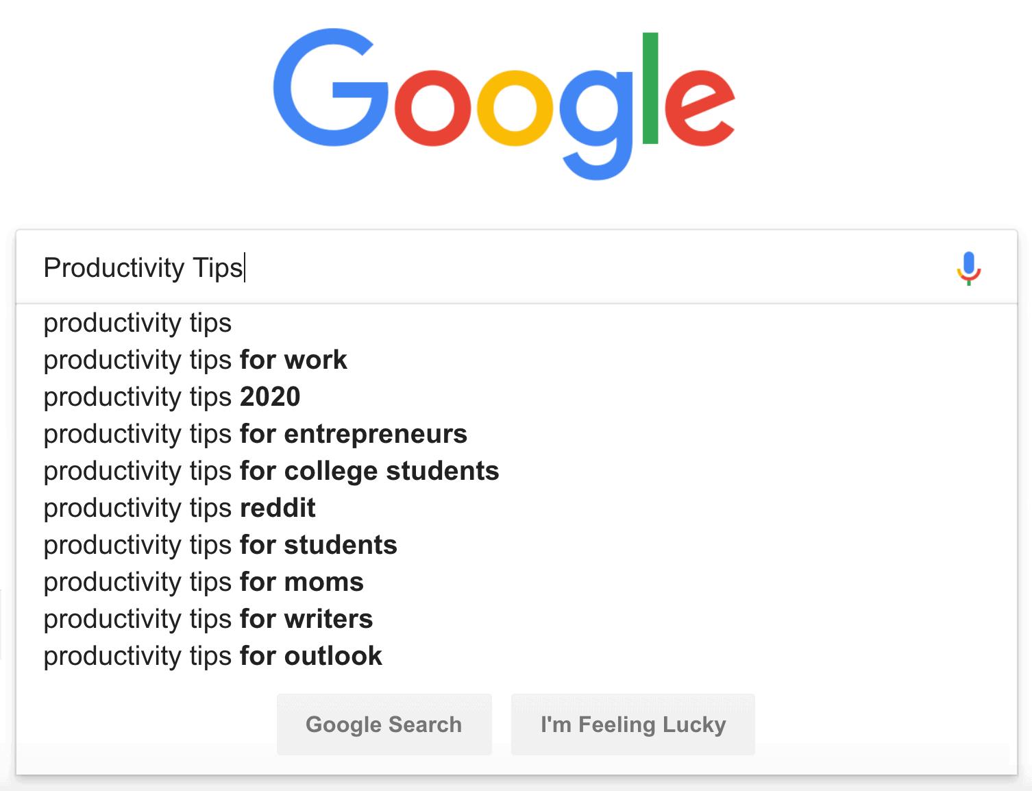 Productivity tips – Google suggest