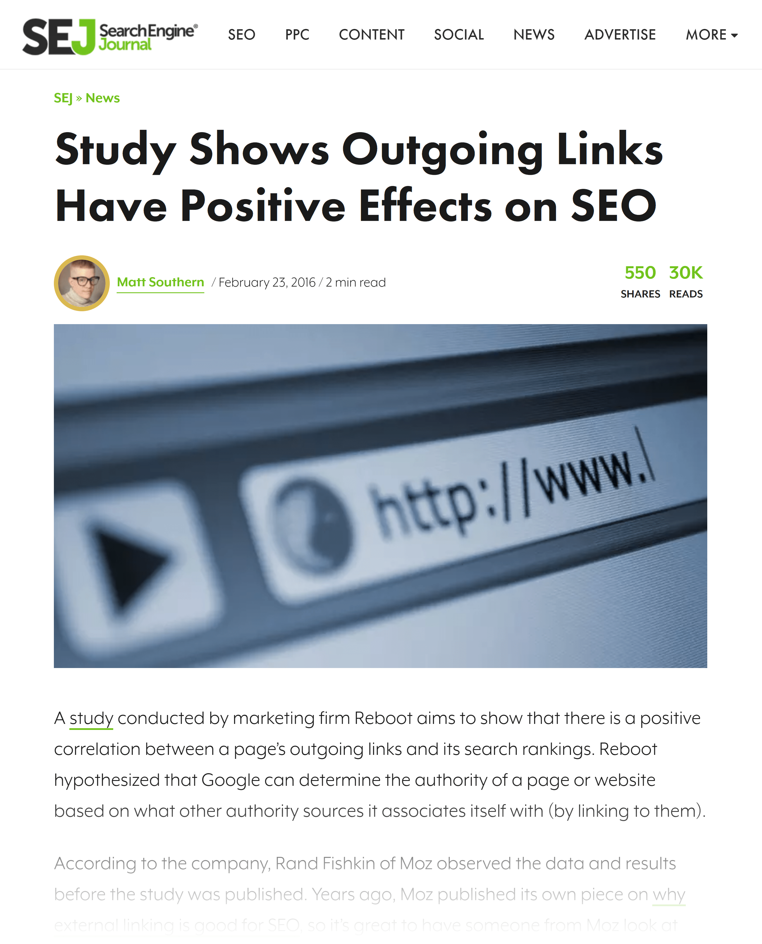 Search Engine Journal – Outgoing links article