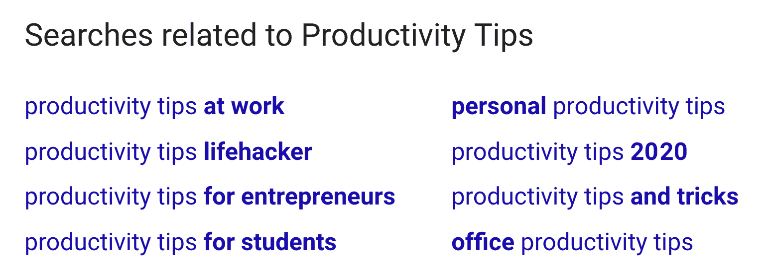 "Searches related to ""Productivity Tips"""