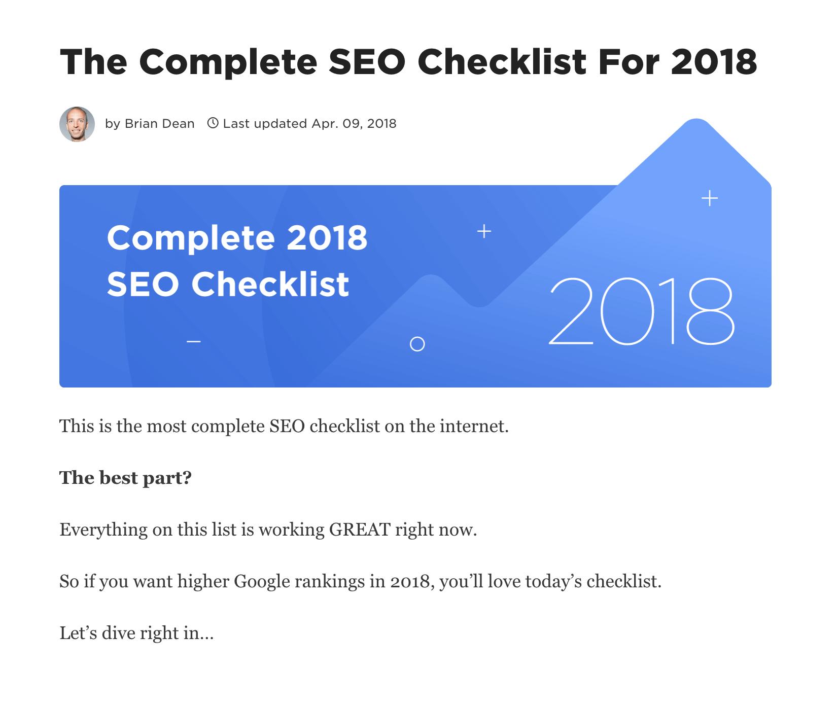 SEO Checklist – Intro