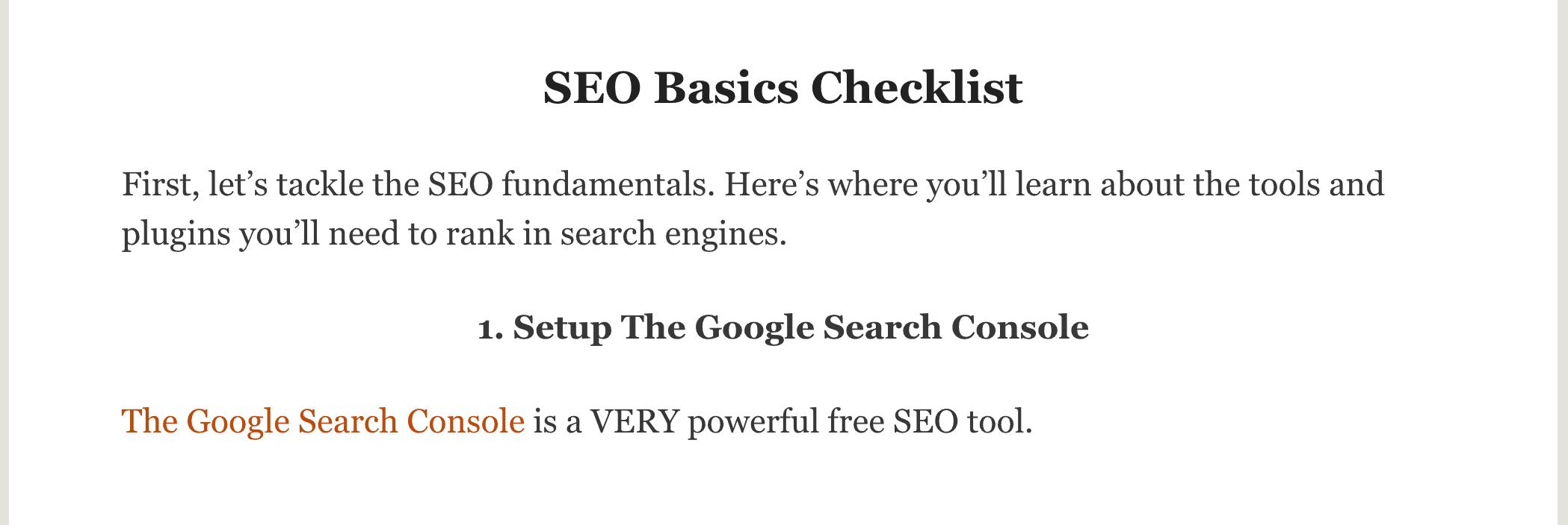 SEO Checklist – New first step
