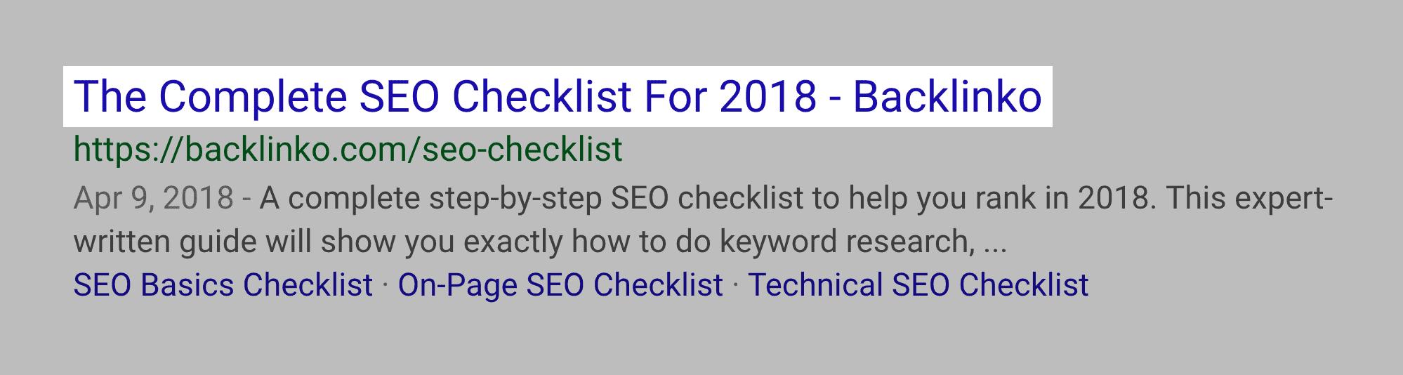 SEO Checklist – New title tag