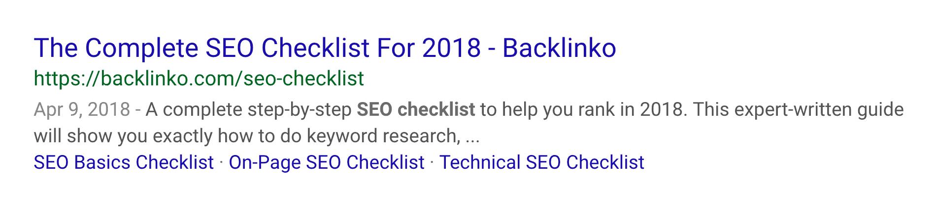 SEO Checklist – Sitelinks in SERPs