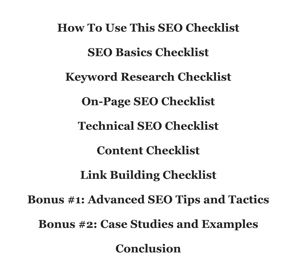 SEO Checklist – Subheaders count