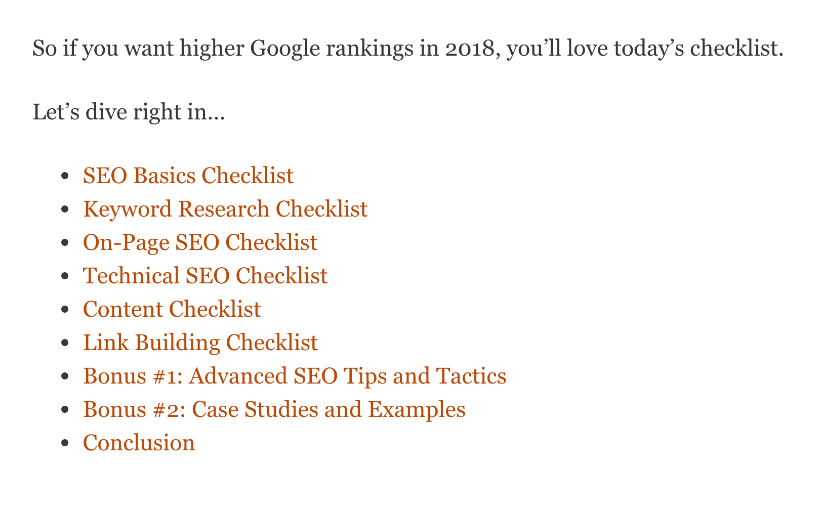 SEO Checklist – Table of contents