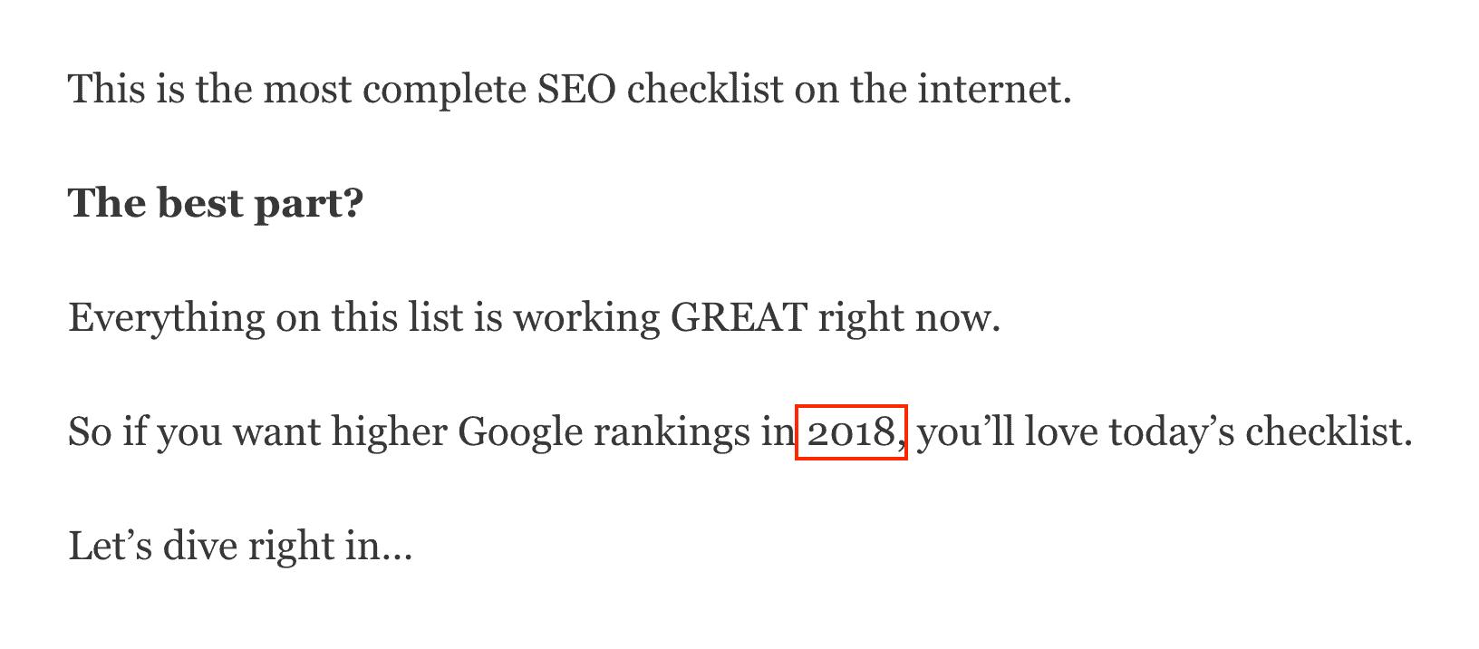 SEO Checklist year in intro