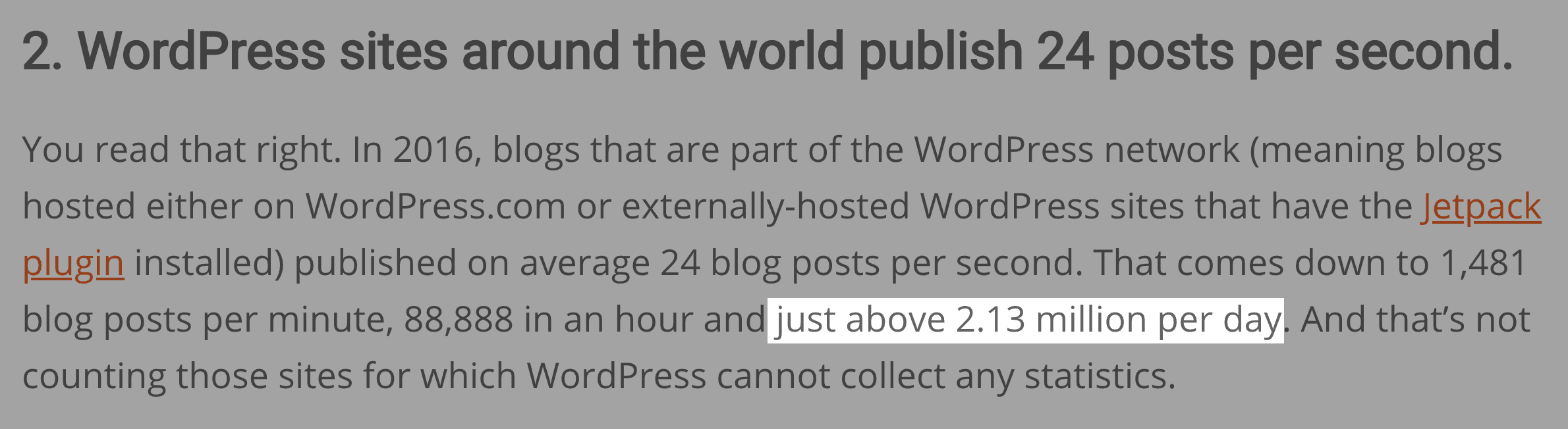 WordPress sites put out 2,000,000 posts every day