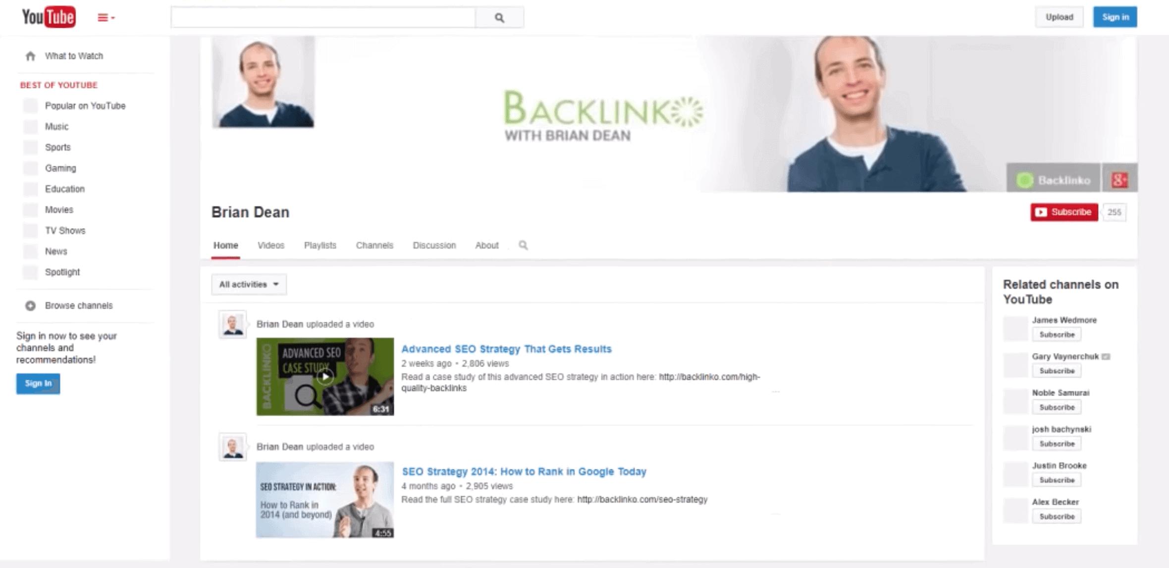 Backlinko – Old YouTube channel