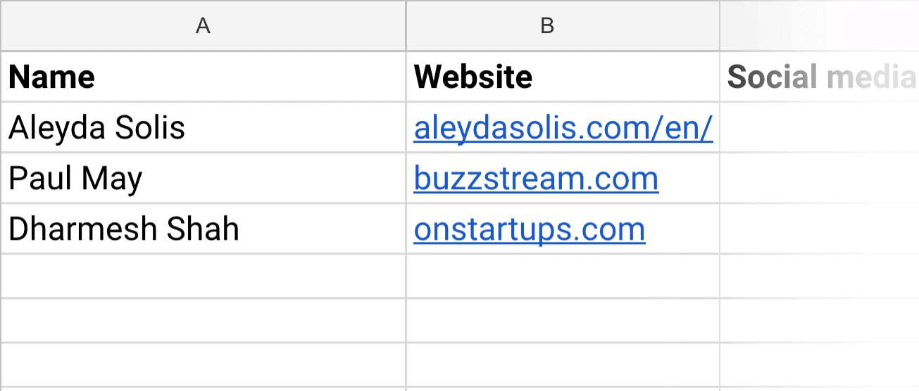 Blogger research spreadsheet – Name and website