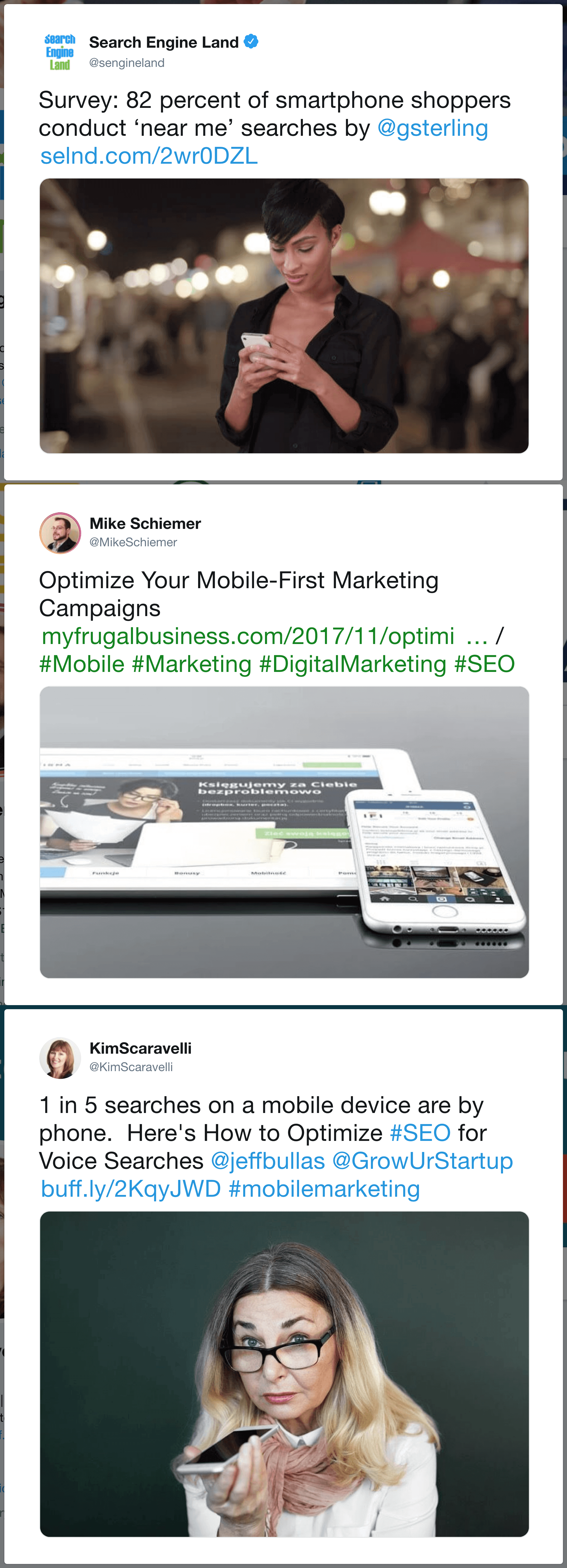 Bloggers sharing mobile SEO optimization content