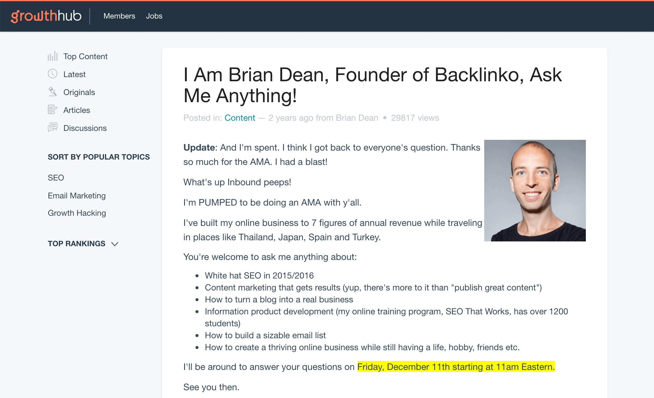 Brian Inbound.org post