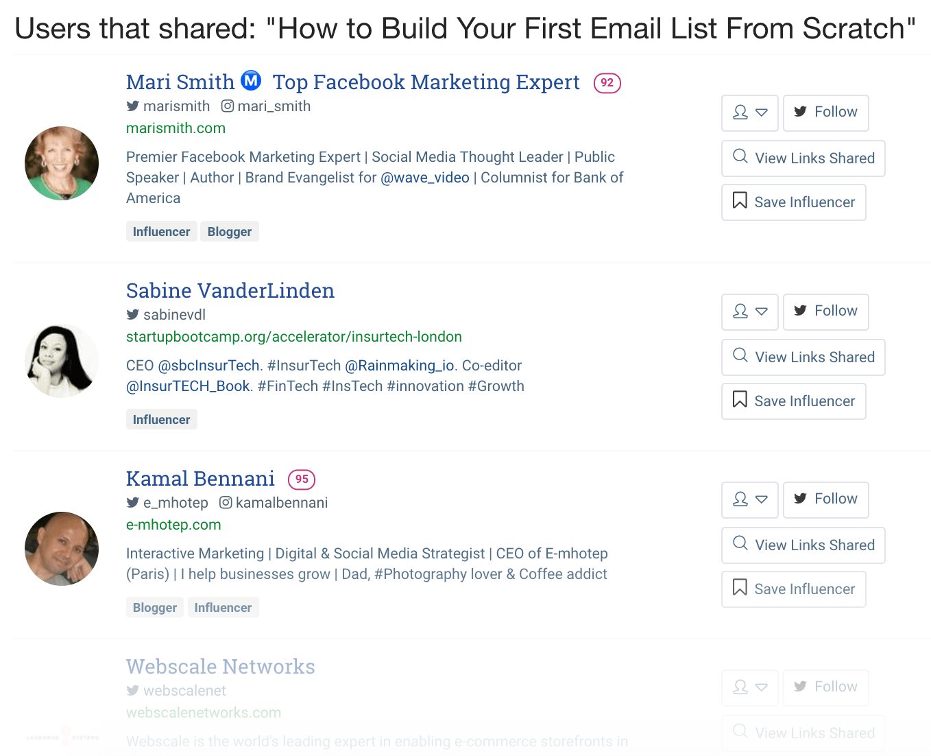 BuzzSumo – Users that recently shared content about list building