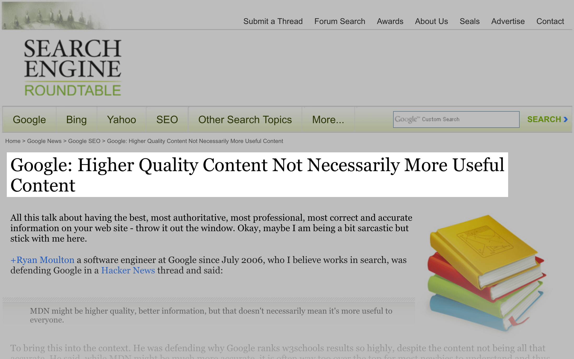Distinction between higher-quality content and useful content