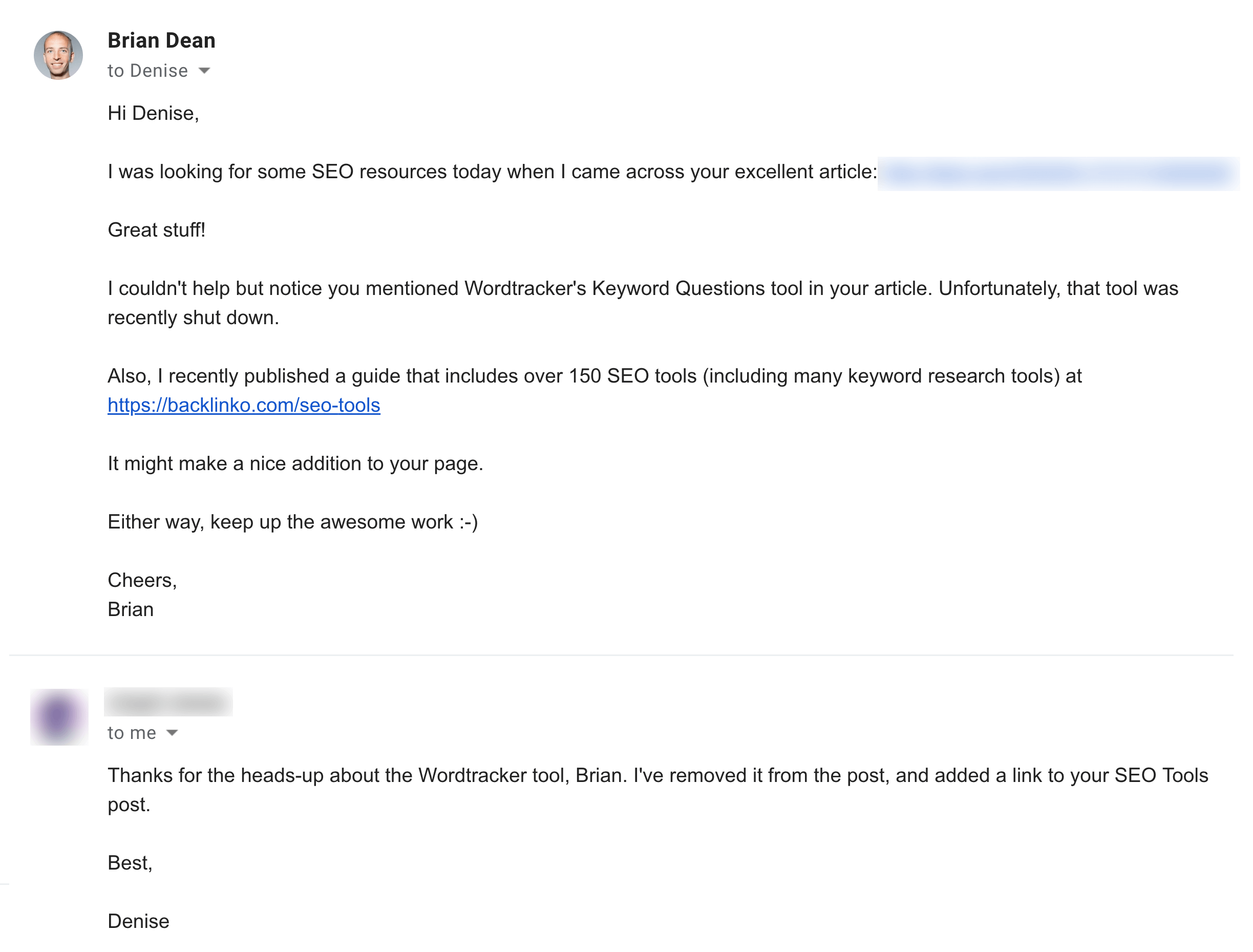 Example of a very specific outreach email