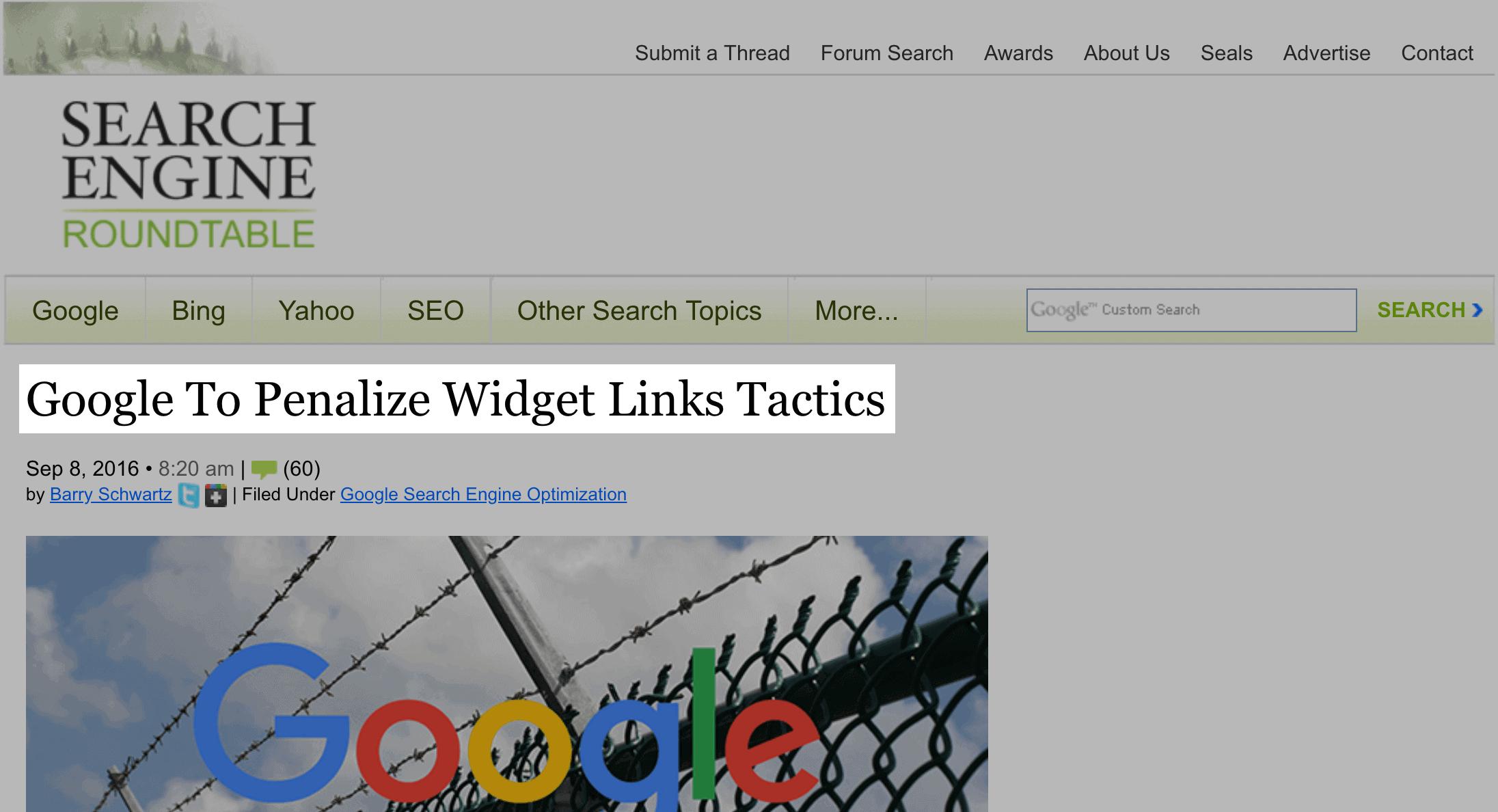 Google penalizes widget link tactics