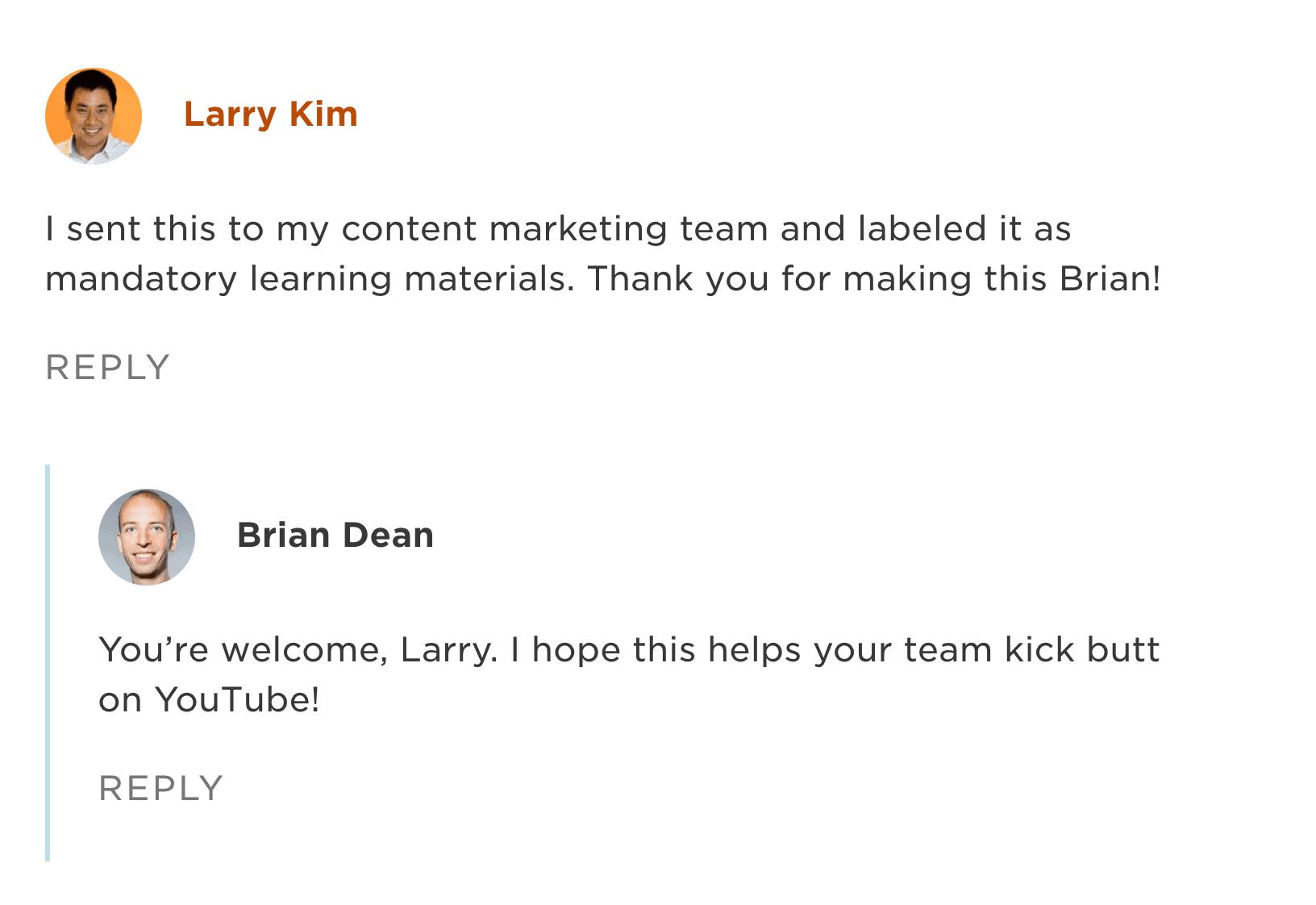 Larry Kim Backlinko comment