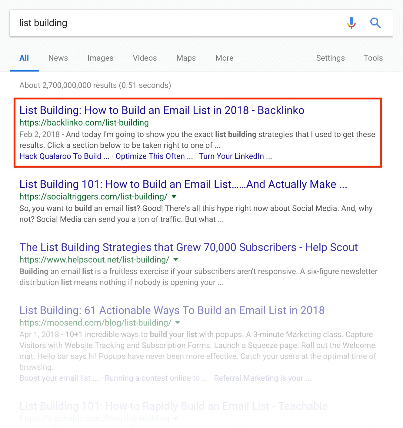 """list building"" SERPs"