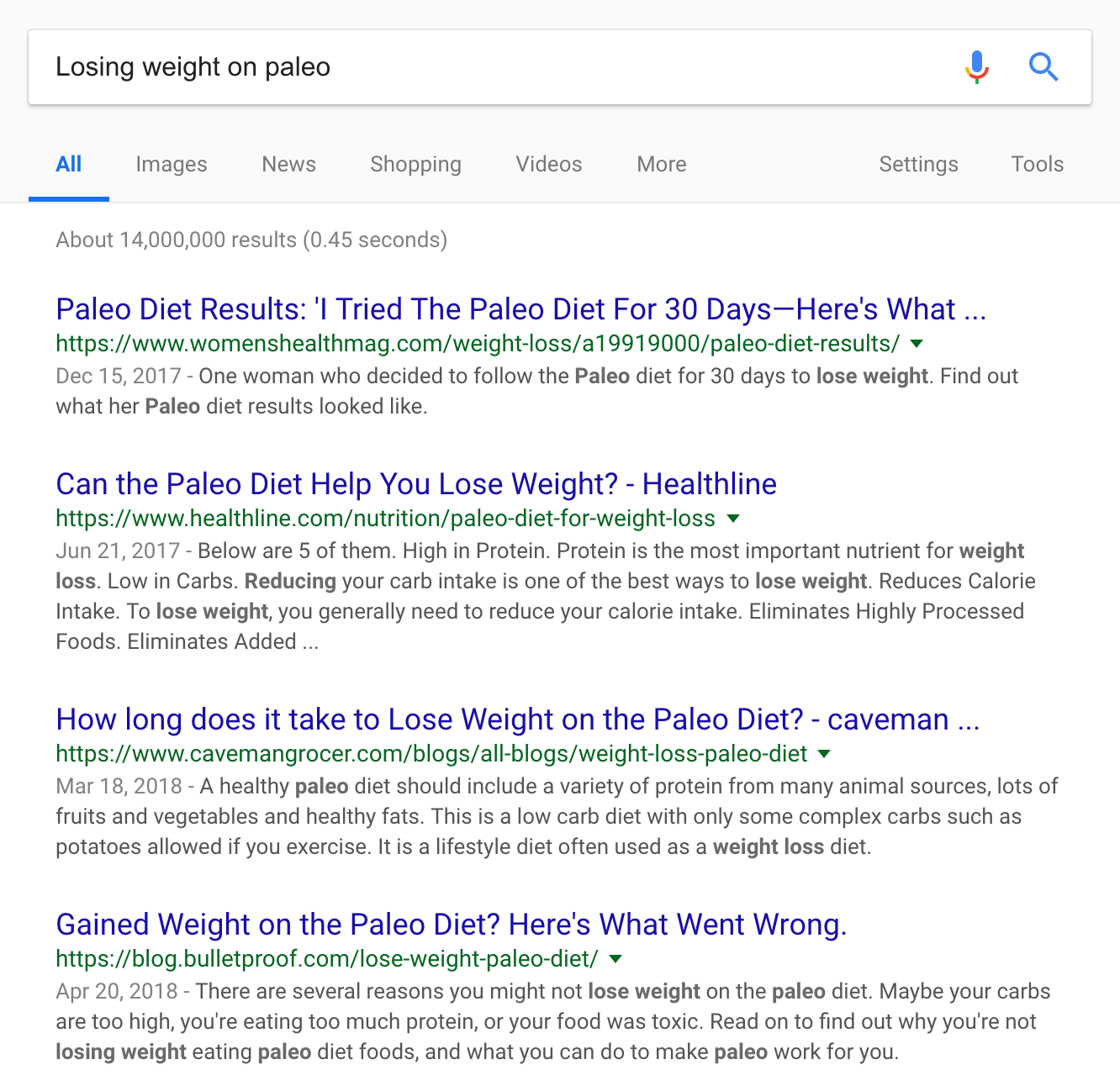 """""""Losing weight on paleo"""" SERPs"""