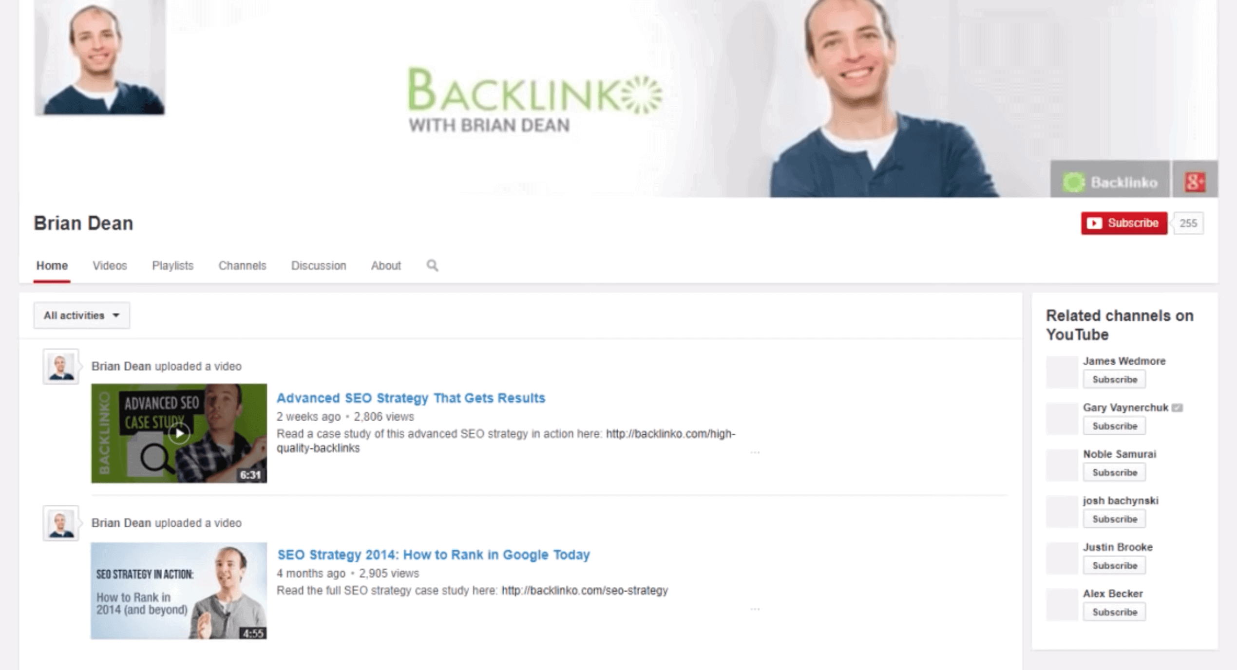 Old Backlinko YouTube channel – Unprofessional