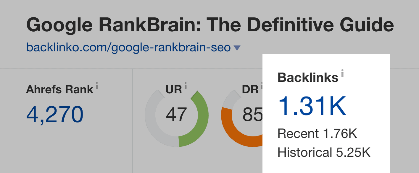 RankBrain post – Backlinks