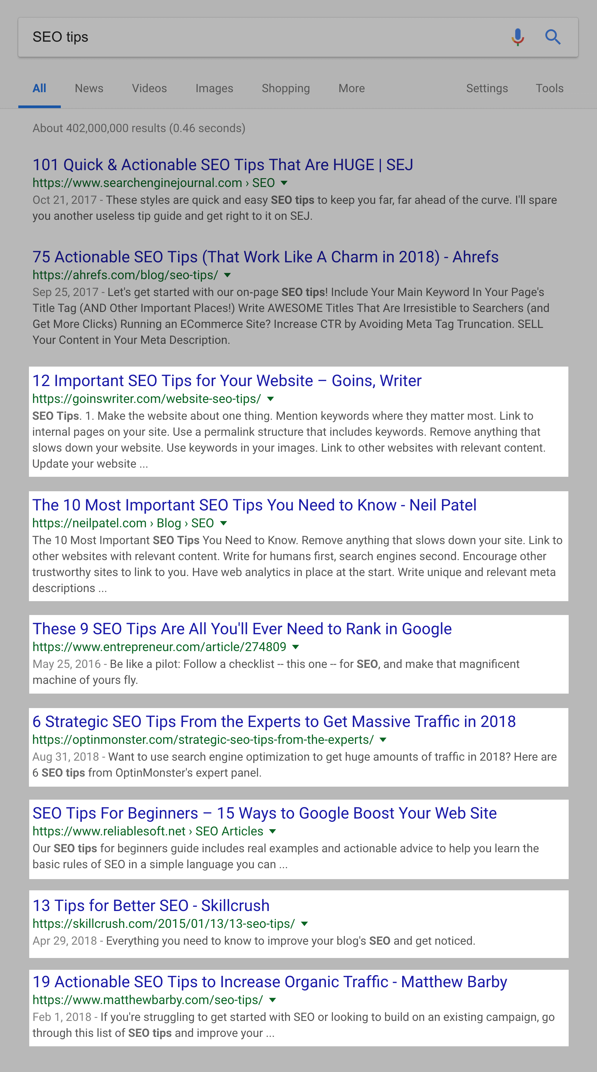 """""""SEO tips"""" SERPs – Highlighting lists of 5 to 20 items"""