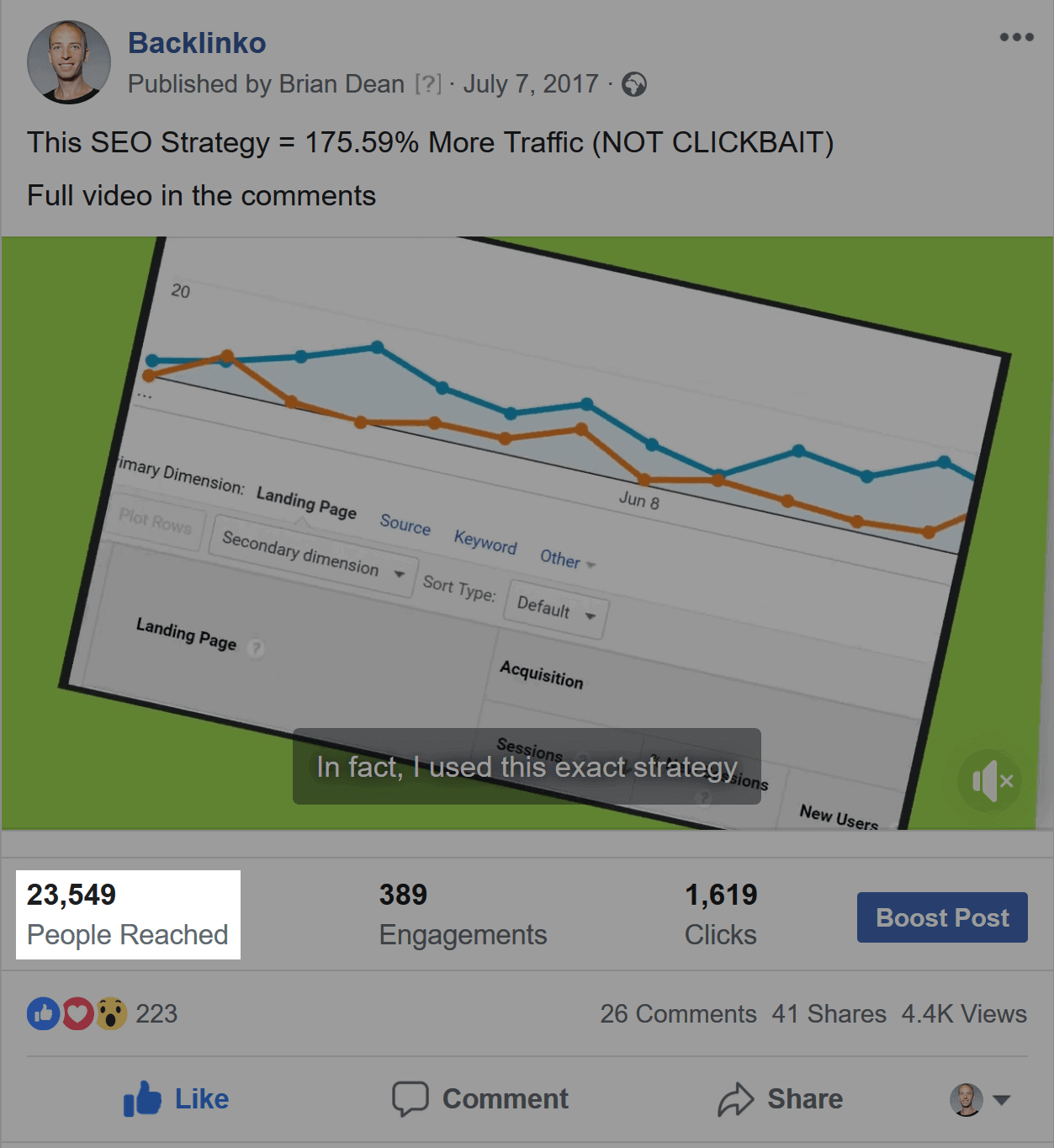 Social media preview – High number of views
