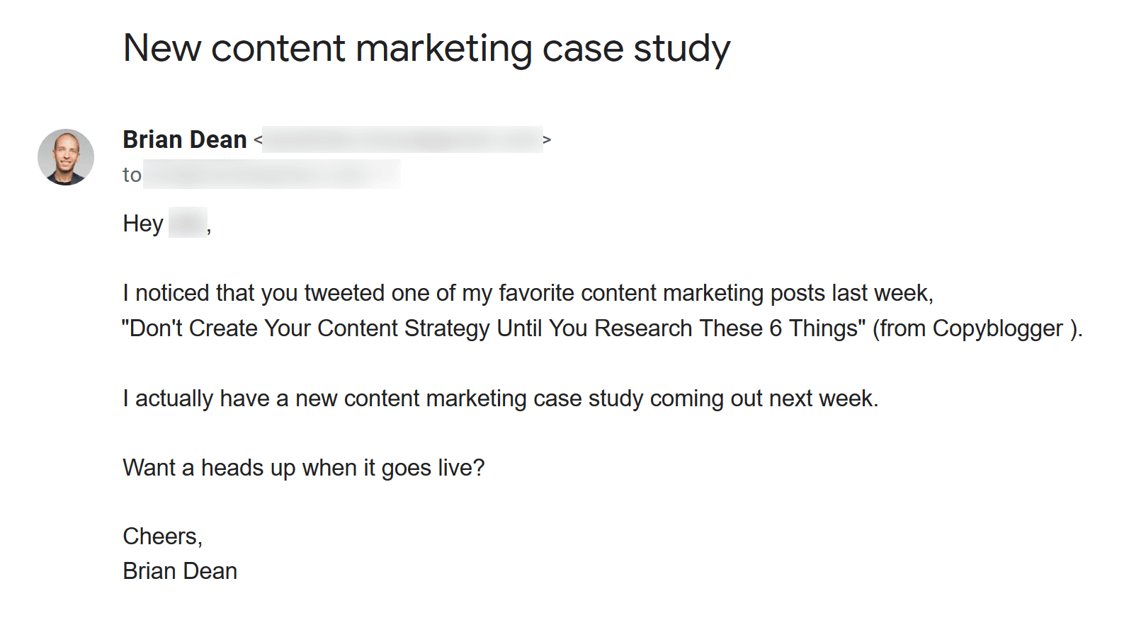 Very personalized outreach email