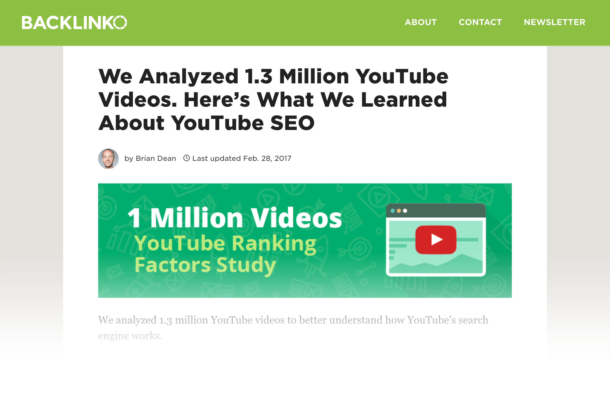 YouTube Ranking Factors study