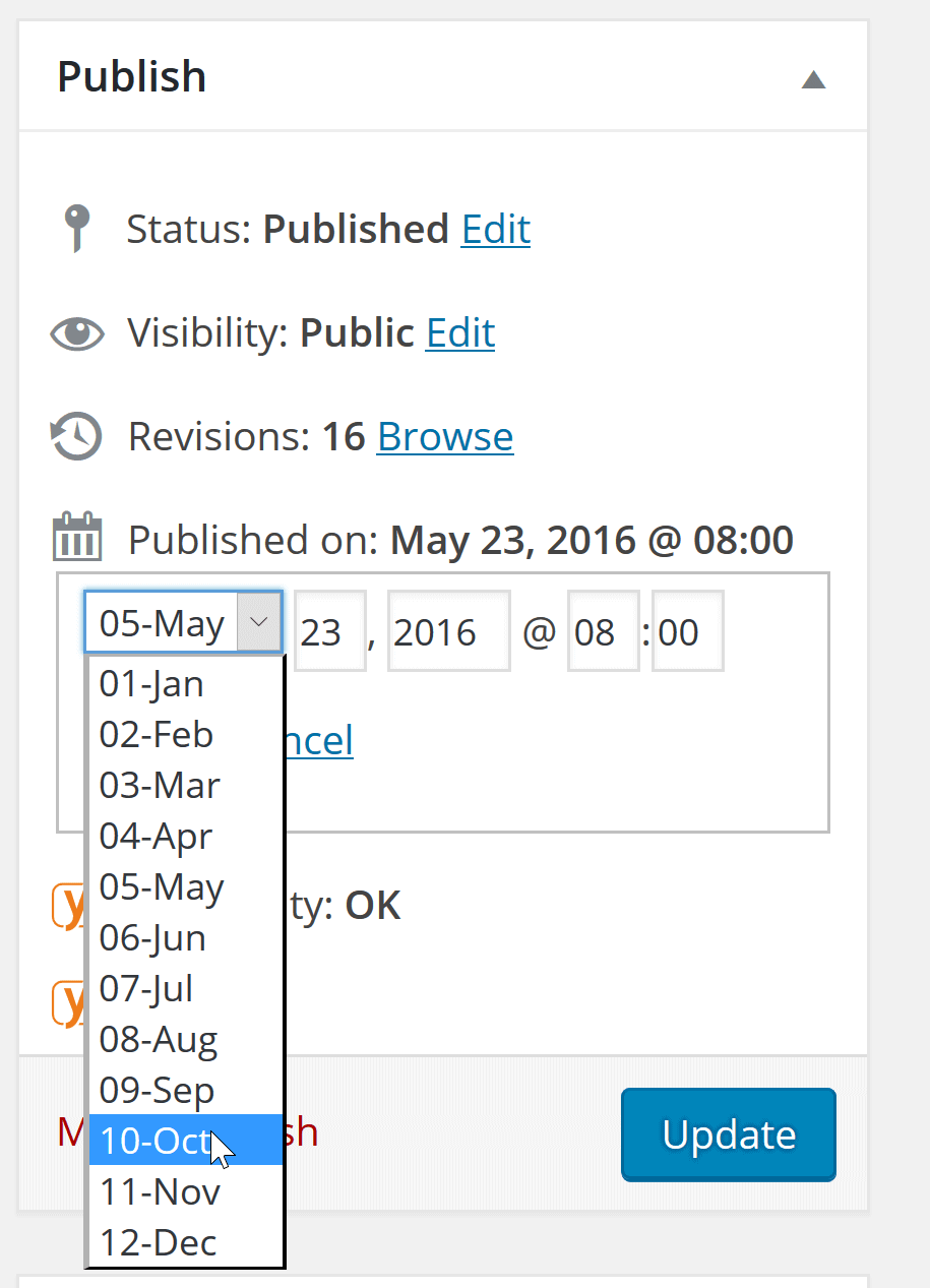 Changing published date