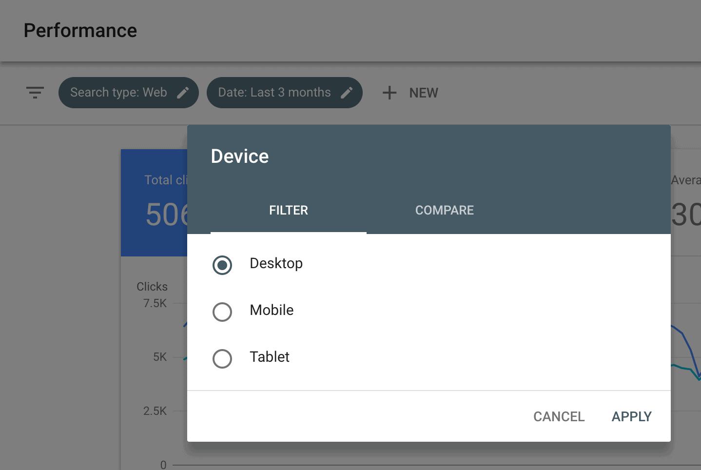 """Click """"Device"""" in Google Search Console"""
