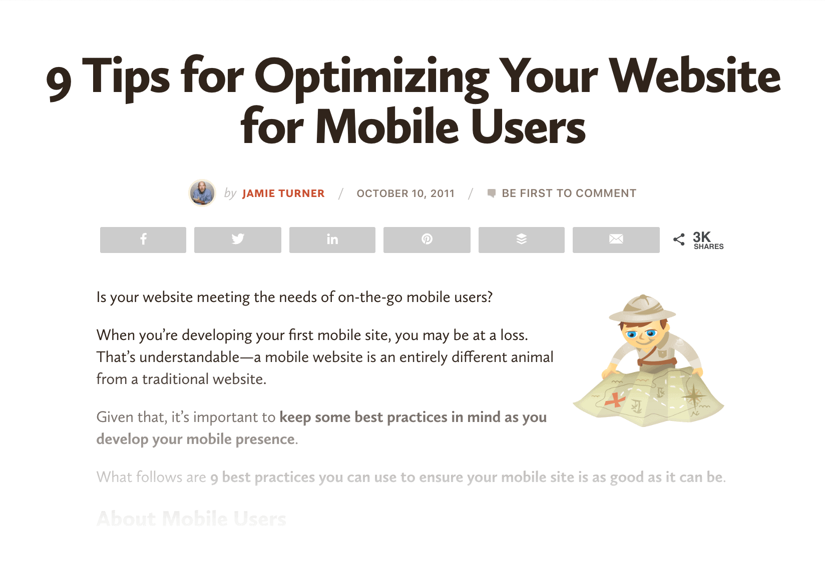 Existing mobile SEO content
