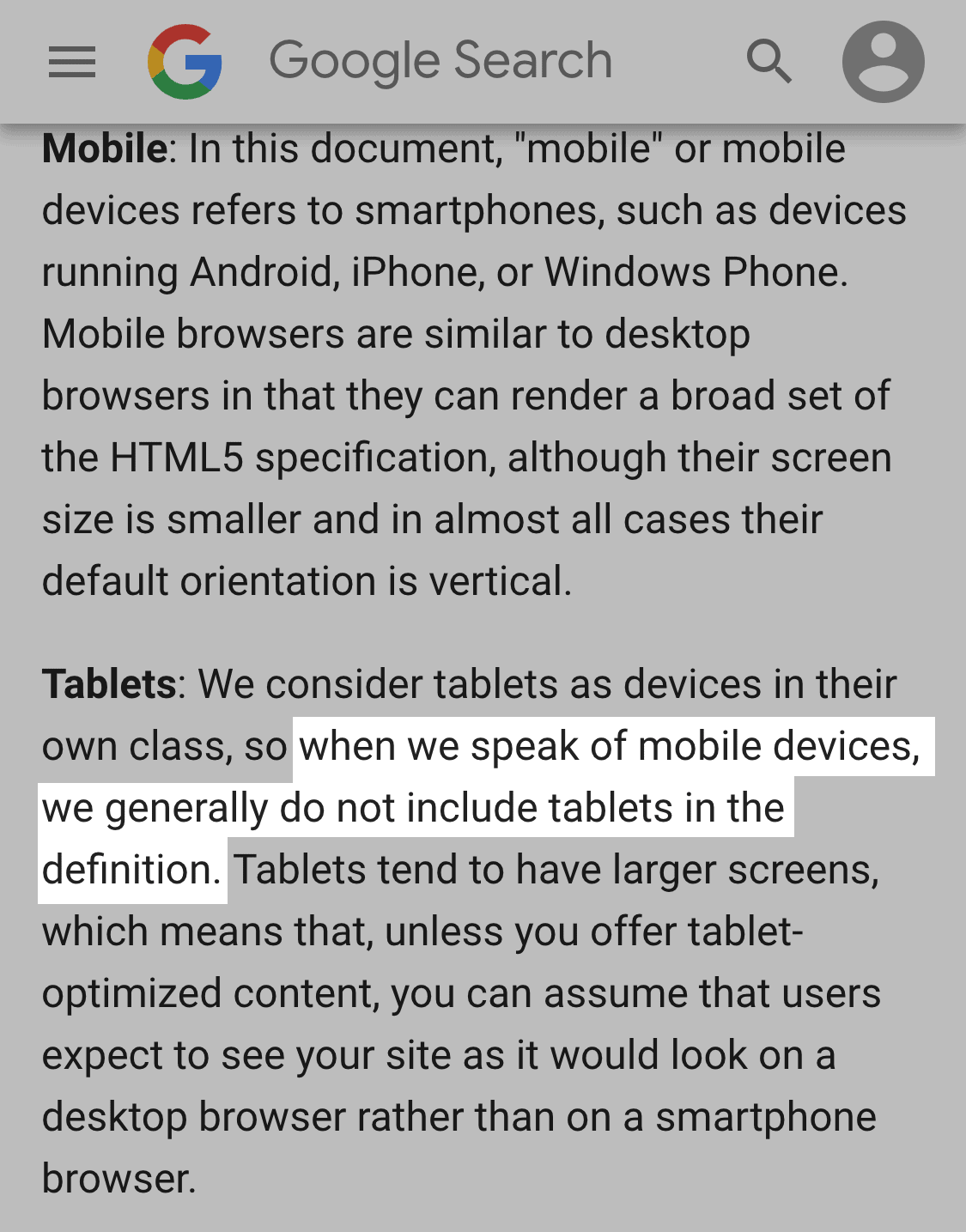 "Google doesn't consider tablets ""Mobile"""