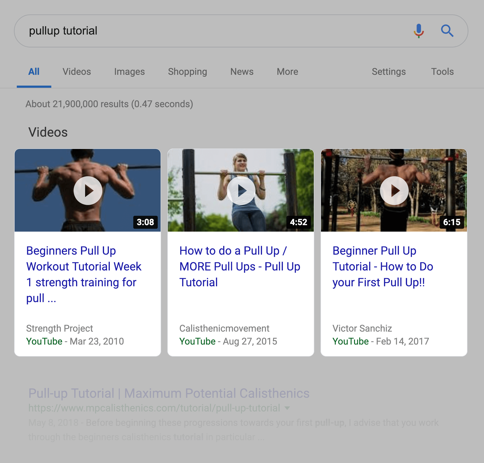 Google reserves a chunk of the page for video results