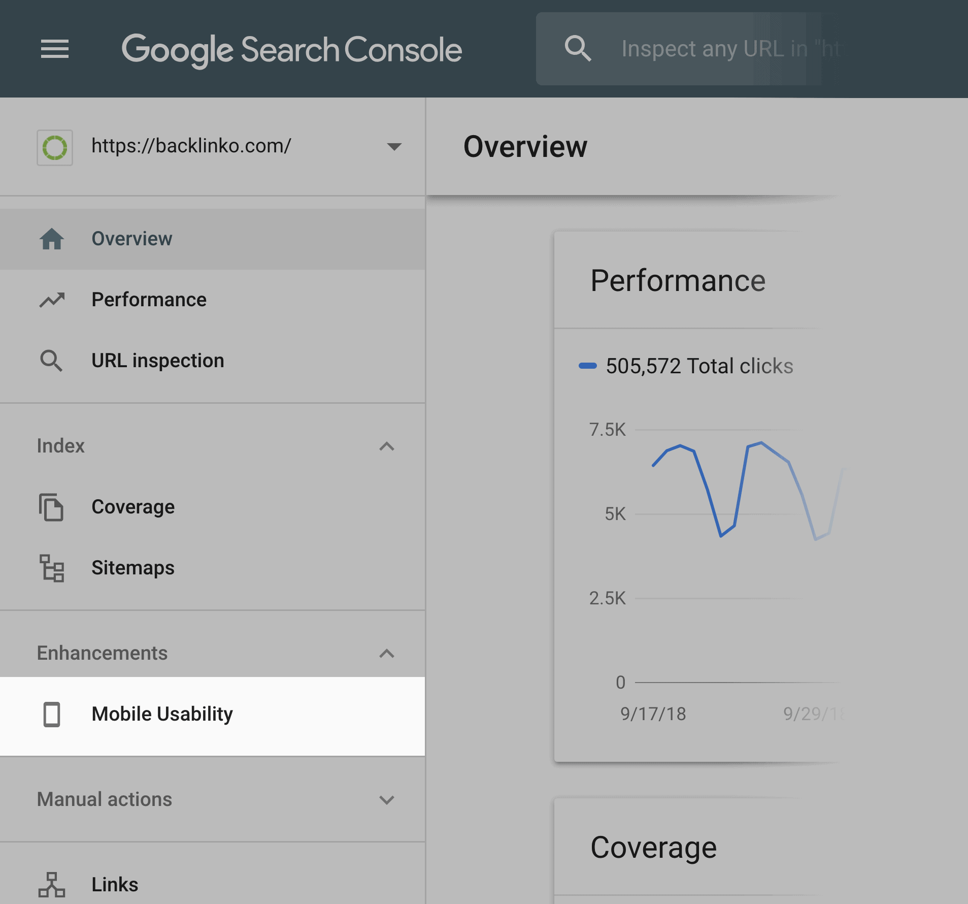 Google Search Console – Mobile Usability section