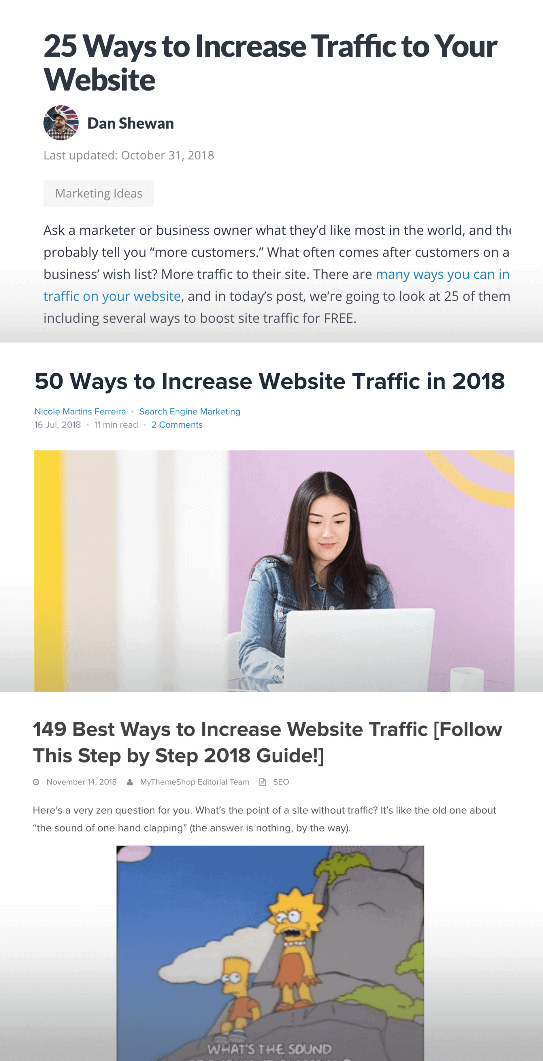 """Increase Website Traffic"" – Existing content"