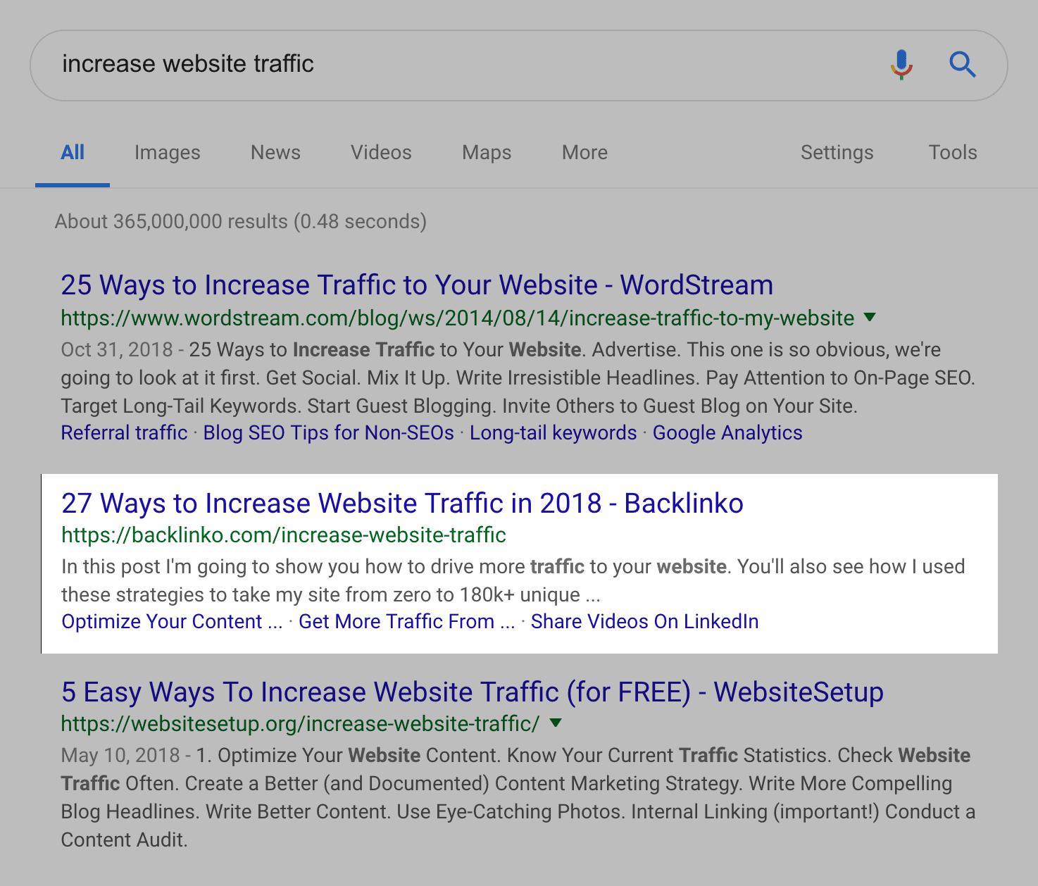 """""""increase website traffic"""" SERPs"""